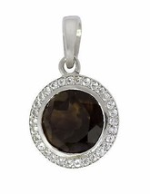 Solid 925 Sterling Silver Smoky Quartz And White Topaz Jewelry Pendant  SHPN0236 - $20.52