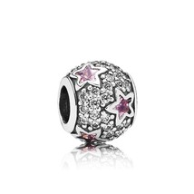 925 Sterling Silver Follow The Stars with Clear Cz & Pink Crystal Charm ... - $21.99