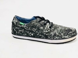 Sanuk Men Cassius Funk Black Multi Paint Camo Lace Up Boat Shoe Loafers SMF11025 - $39.99