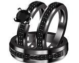925 Silver Black Real Diamond 3-Piece Men's & Women's Engagement Ring Trio Set - £185.04 GBP