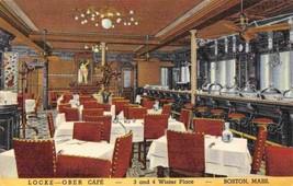 Locke Ober Cafe Interior Winter Place Boston Massachusetts linen postcard - $6.44