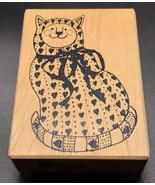 Stampa Barbara Gift Wrapped Cat Christmas Wood Rubber Stamp NEW RARE 3.5... - $20.00
