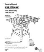 Sears Craftsman  Table Saw Manual Model # 315.228390 - $10.88