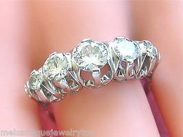 VINTAGE MID-CENTURY 1.85ctw DIAMOND PLATINUM CLASSIC 5-STONE RING 1950 s... - $3,662.01