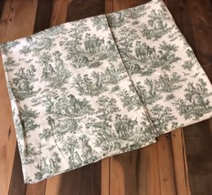 "VTG Waverly Curtain Charmed Life Toile Fabric Tarragon Green Ivory 36"" Pair  D1 - $24.74"