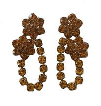 Huge Vintage Gold Colored Rhinestone 1960's Retro Go-Go Pierced Earrings... - $24.74