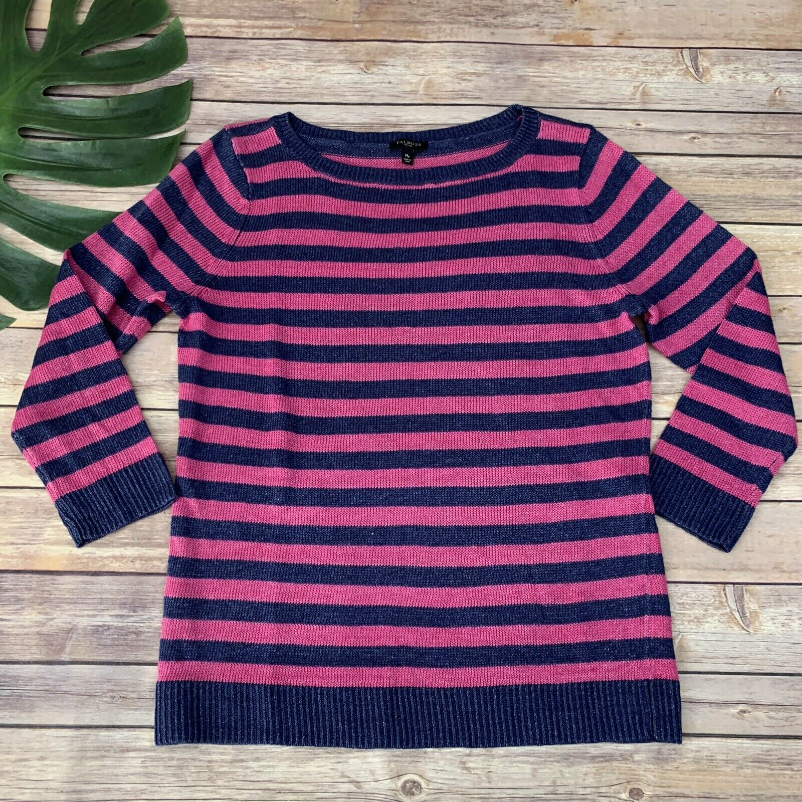 Primary image for Talbots Striped Pullover Sweater Size M Petite Pink Blue Linen 3/4 Sleeve