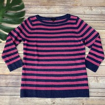 Talbots Striped Pullover Sweater Size M Petite Pink Blue Linen 3/4 Sleeve - $22.96