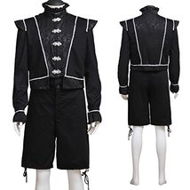 1791's lady Medieval Renaissance Costume for Men Black Suit - $80.69