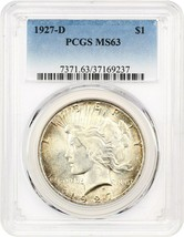 1927-D $1 PCGS MS63 - Colorful Rim Toning - Peace Silver Dollar - $480.15