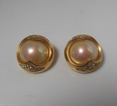 Vintage Christian Dior Mother of Pearl Pave Rhinestone Clip-on Earrings  - $118.80