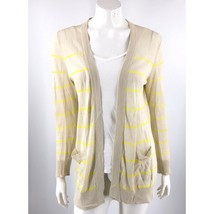 Ann Taylor Loft Cardigan Sweater Medium Beige Neon Yellow Open Front Str... - $13.86
