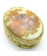 Hand Painted Pill Box Lovers in the Garden Porcelain Brass Victorian Vin... - $49.49