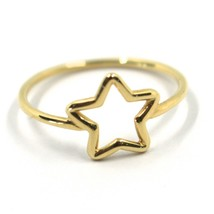 SOLID 18K YELLOW GOLD STAR RING, 10mm DIAMETER STAR CENTRAL MADE IN ITALY image 1
