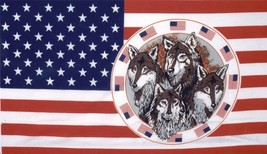 USA CIRCLE OF WOLVES 3X5 FLAG FL309 banner WOLF w grommets united states... - $6.27