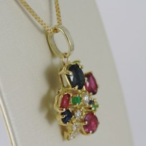 18K YELLOW GOLD FLOWER NECKLACE DIAMOND SAPPHIRE RUBY EMERALD MADE IN ITALY  image 2