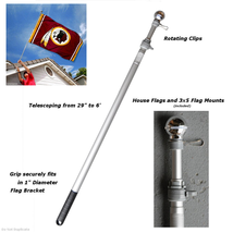 Sports Flags Pennants Company 6 Foot Flag Pole Aluminum Spinning Flagpol... - $24.59