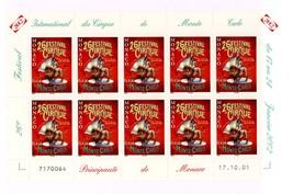 2002 Monte Carlo Circus Festival Minisheet of 10 Monaco Postage Stamps MNH