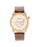 Heritor Automatic Wellington Leather-Band Watch - Brown/Gold/White - $750.00