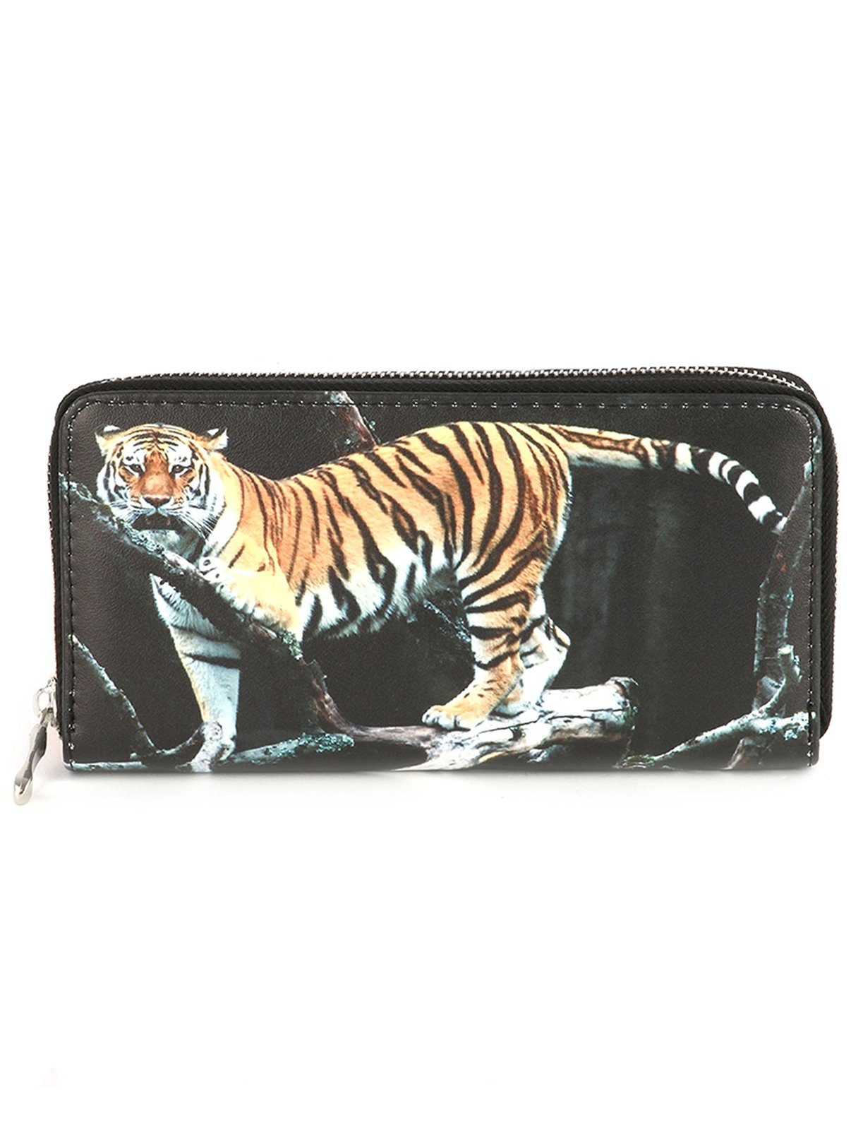 Tiger Print Zip Around Wallet Clutch Purse