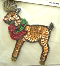 Vintage Reindeer Sequin Applique Sew-On Sequined Patch  NIP  - $8.99