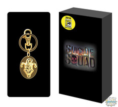 Suicide Squad Joker Keychain SDCC 2016 Oval Golden Pewter Key Chain The ... - $24.95