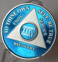 Blue Silver Plated 35 Year AA Chip Alcoholics Anonymous Medallion Coin - $20.39