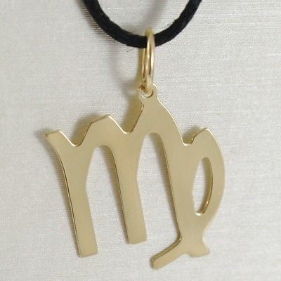 18K YELLOW GOLD ZODIAC SIGN PENDANT, ZODIACAL FLAT CHARM, VIRGO, MADE IN ITALY