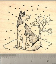 Lg Alaskan Husky dog Winter Scene Rubber Stamp WM L7309 - $17.95