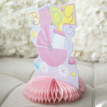 Pink Baby Stroller Carriage Baby Shower Centerpiece Honeycomb Baby Bottle - €5,60 EUR