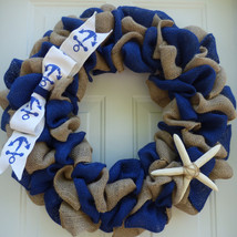Nautical Wreath/Summer Burlap Wreath/Coastal Wreath/Beach Wreath/Summer ... - $54.00