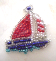 Vintage Sailboat Red Sequin Applique Sew-On Sequined Patch  NIP  - $8.99