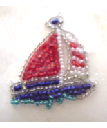 Vintage Sailboat Red Sequin Applique Sew-On Seq... - $4.99