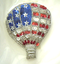 Vintage Silver American Air Balloon Sequin Applique Sew-On Sequined Patc... - $8.99