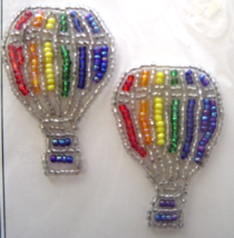 Vintage Silver Rainbow Air Balloons Sequin Applique Sew-On Sequined Patc... - $8.99