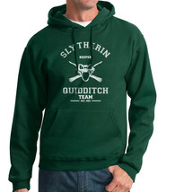 Old Keeper Slytherin Quidditch Team White Ink Unisex Pullover Hoodie Deep Forest - $37.00+
