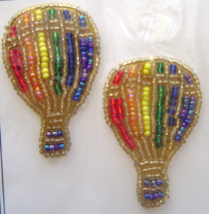 Vintage Gold Rainbow Air Balloons Sequin Applique Sew-On Sequined Patch ... - $8.99