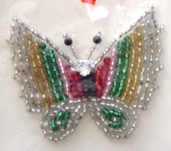 Vintage Silver Butterfly Sequin Applique Sew-On Sequined Patch  NIP  - $8.99
