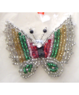 Vintage Silver Butterfly Sequin Applique Sew-On... - $5.99