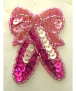 Vintage Dark Pink Ballet Slippers Sequin Appliq... - $5.99