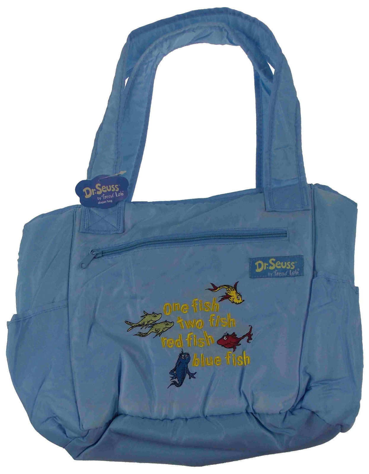 Dr Seuss One Fish Two Baby Diaper Bag Blue Trend Lab Tote Changing Pad New 23 49