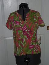 Caribb EAN Joe Knit Top Shirt Size Ps Pink Green Floral Msrp:36.00 Nwt - $16.98