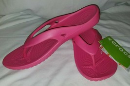 New Crocs Kadee II flip flop Paradise pink relaxed sandals shoes size 7 - $23.33