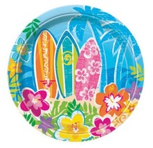 "Hula Beach Party 8 Dessert Cake Plates 7"" Surf Board Hibiscus Flower - $2.84"