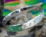 Vintage monet bangle bracelet silver tone etched diamond cut textured thumb155 crop