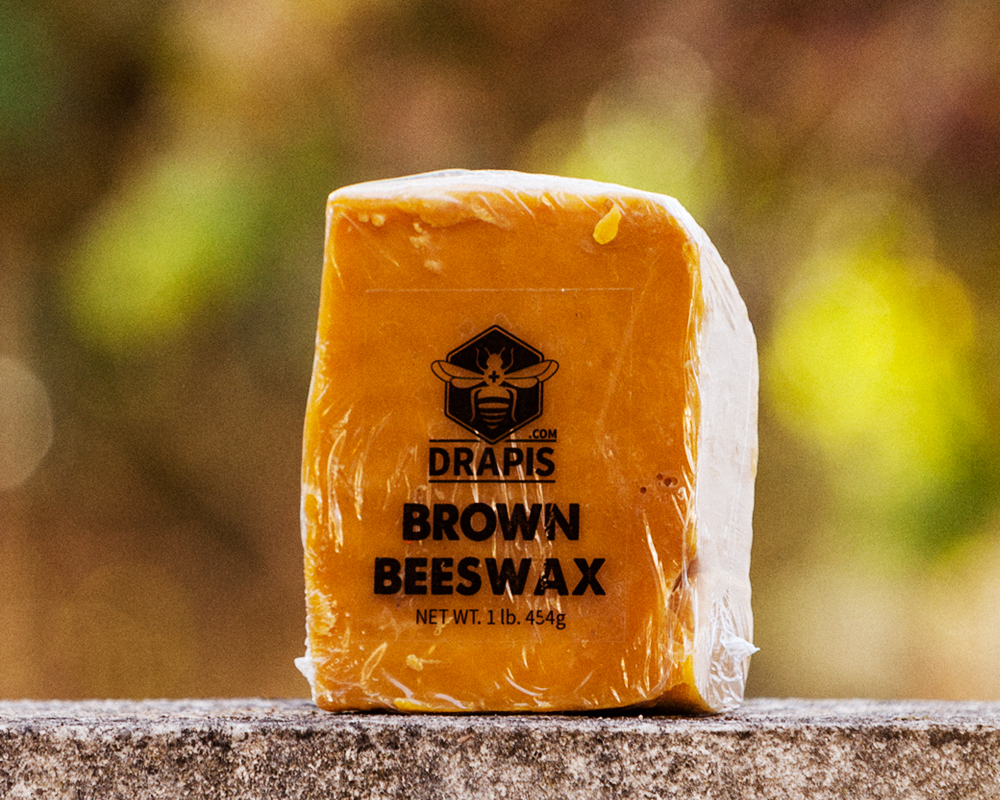 Primary image for DrApis Brown Beeswax 454g (1 lb) bar raw & unfiltered from beekeeper in Portugal