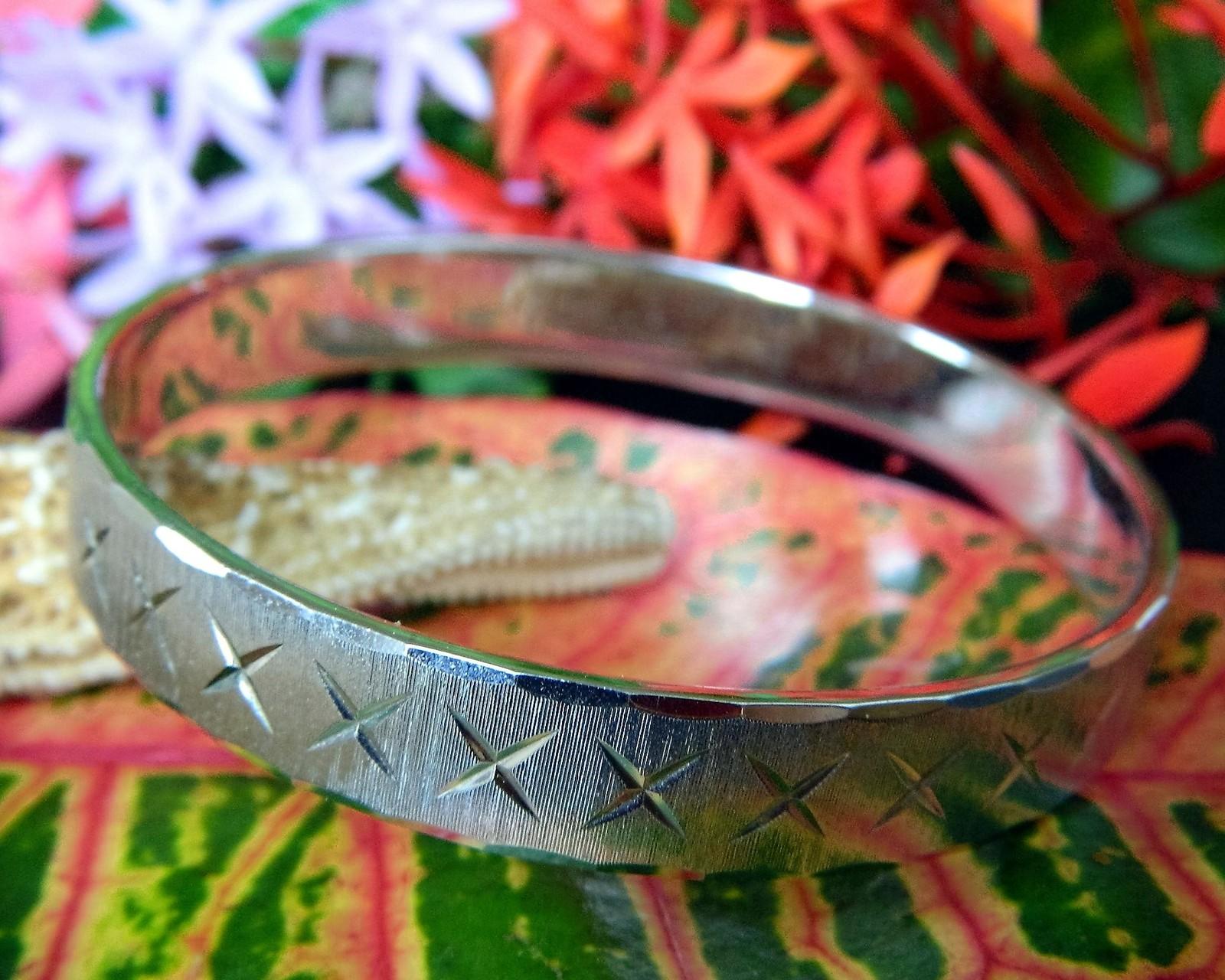 Vintage Monet Bangle Bracelet Silver Tone Etched Diamond Cut Textured