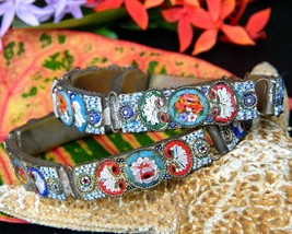 Vintage Panel Bracelets Micro Mosaic Inlaid Glass Tile Link Italy Pair - $74.95