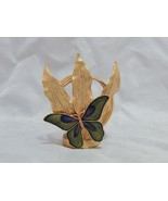 Vintage Gold Tone Metal Letter holder with Enameled Butterfly - $14.85