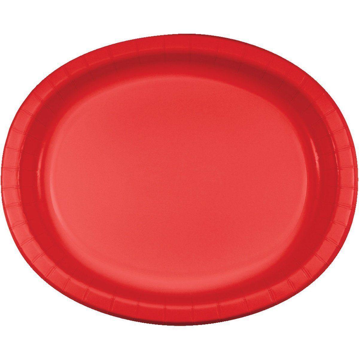 "Creative Converting 20 Count Oval Paper Platters, Classic Red 12"" x 10"""